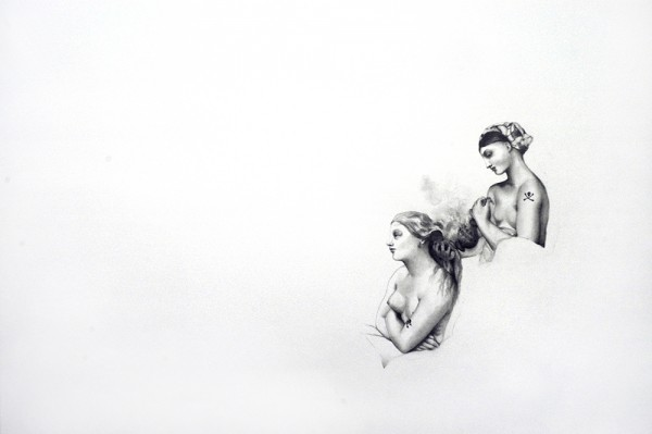 Tatouages, Ingres #3, 2006. Mine de plomb, 50 x 65 cm.