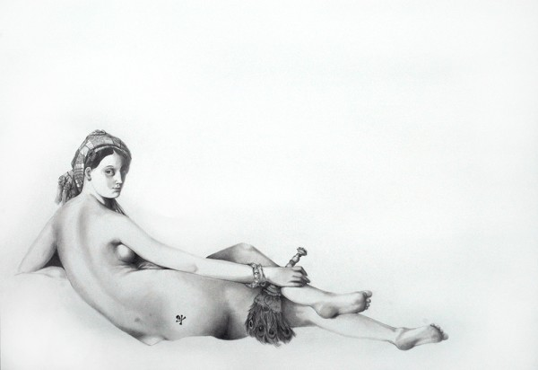 Tatouages, Ingres #5, 2006. Mine de plomb, 50 x 65 cm.