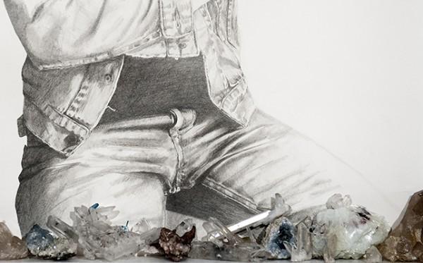 Sans titre # 2, 2014 (détail). Mine de plomb, minéraux, 80 x 60 cm.