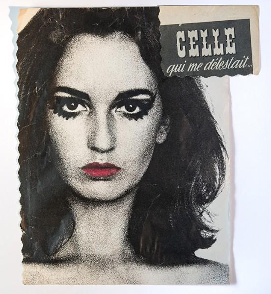 Celle qui me détestait, 2016. Collage, rouge à lèvres sur magazine, 27,5 x 24 cm.