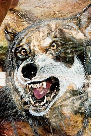 dear prudence, 2011 (détail). Acrylique, dents d'animaux sur affiche, 135 x 100 cm.