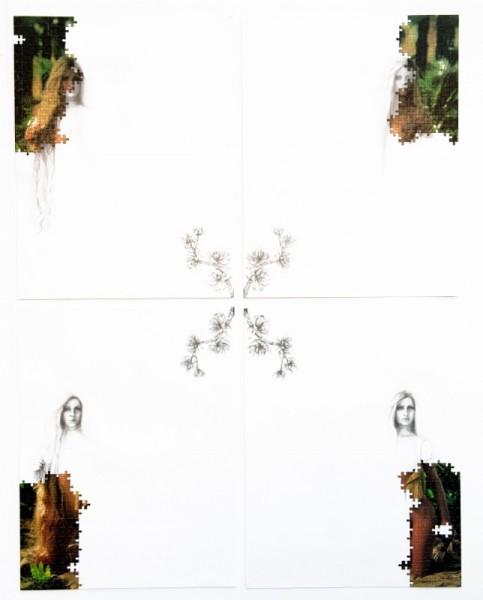 Puzzle / 77, 2012. Puzzle playboy, mine de plomb, 140 x 110 cm.