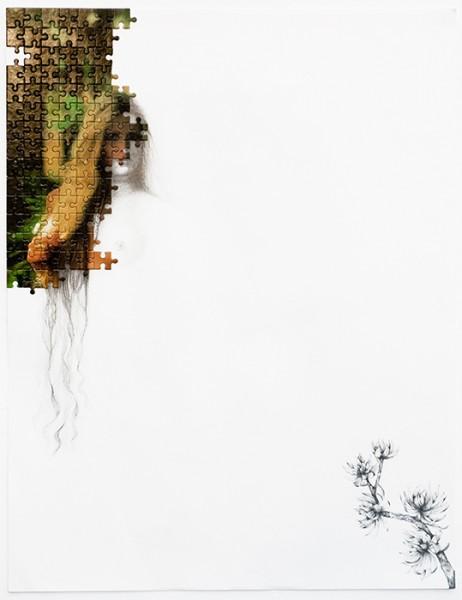 Puzzle / 77, 2012 (détail1). Puzzle playboy, mine de plomb, 65 x 50 cm.