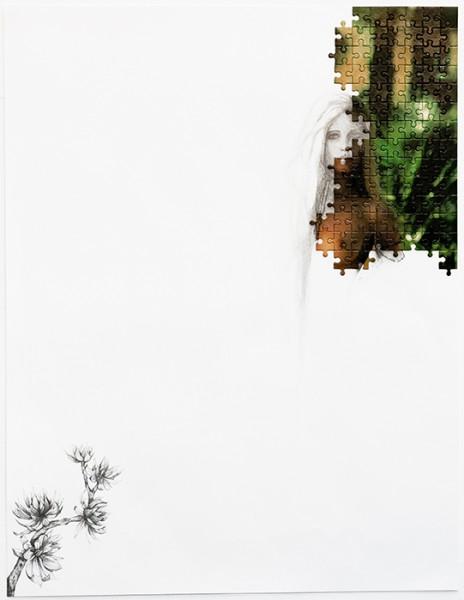 Puzzle / 77, 2012 (détail2). Puzzle playboy, mine de plomb, 65 x 50 cm.