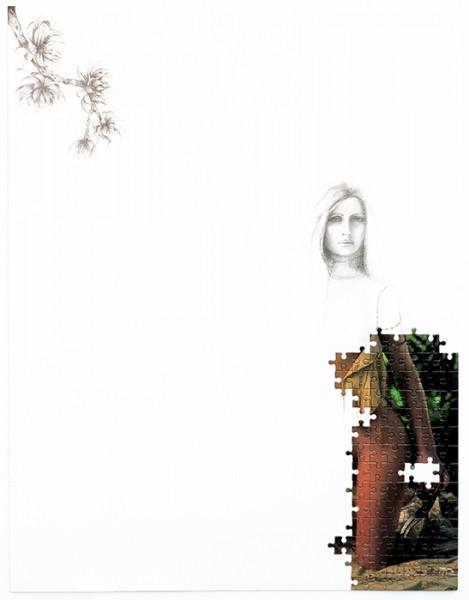 Puzzle / 77, 2012 (détail4). Puzzle playboy, mine de plomb, 65 x 50 cm.