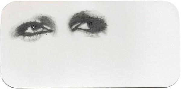 REGARD-bowie #12, 2012. Mine de plomb, paillettes, 9,5 x 19,5 cm.