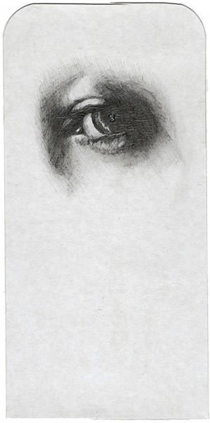 REGARD-bowie #21, 2012. Mine plomb, paillettes, 9,5 x 19 cm.