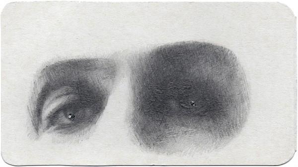 REGARD-bowie #24, 2013. Mine de plomb, paillettes, 9,5 x 17,5 cm.