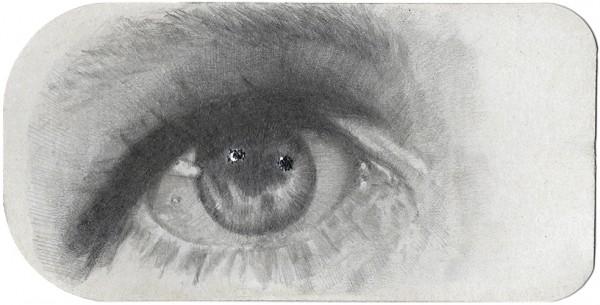 REGARD-bowie #26, 2013. Mine de plomb, paillettes, 9,5 x 19,5 cm.