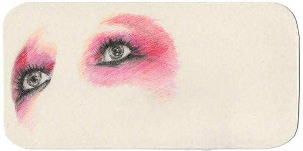 REGARD-bowie #36, 2014. Mine de plomb, crayons de couleurs, 10 x 20 cm.
