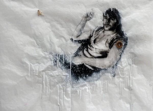 Saintes et saints, Jean, 2011. Peinture acrylique, reliquaire sur papier cristal toile d'araignée, 50 x 65 cm.