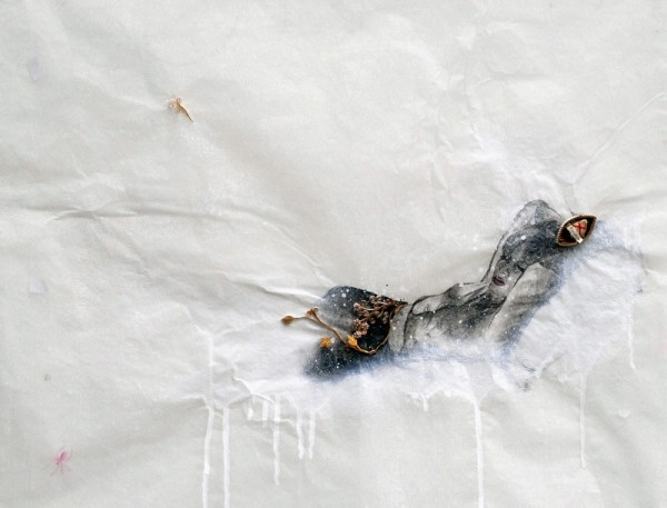 Saintes et saints, Joe (d'après Nan Goldin), 2009. Peinture acrylique, reliquaire sur papier cristal toile d'araignée, 50 x 65 cm.