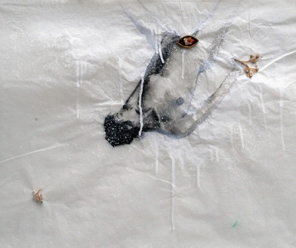 Saintes et saints, Valérie (d'après Nan Goldin), 2009. Peinture acrylique, reliquaire sur papier cristal toile d'araignée, 50 x 65 cm.